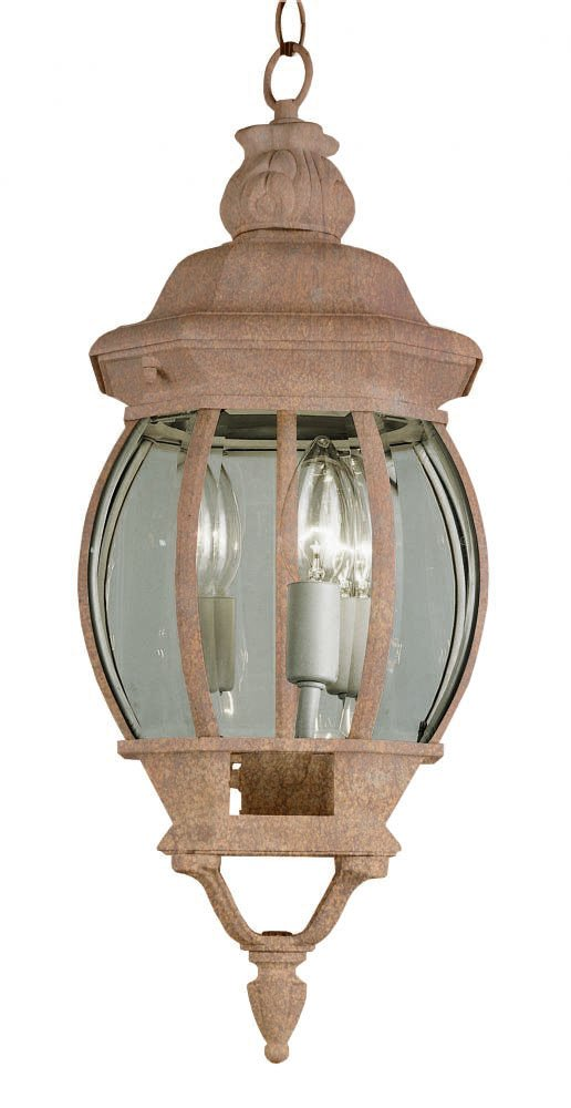 Transglobe Lighting 4066 RT Outdoor Hanging Pendant with Beveled Glass Shades, Rust Finished