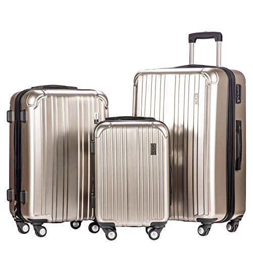 Merax Dreamy ABS+PC 3 Piece Expandable Luggage Set with TSA Lock (Silver) by Merax