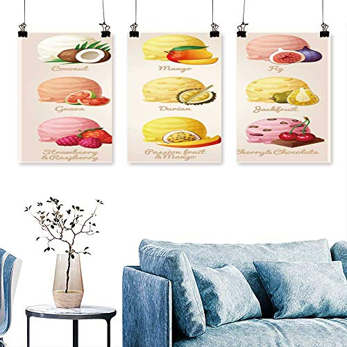 SCOCICI1588 3 Panel Canvas Wall Art Cartoon Icons ice Cream Scoops Fruit Berry Flavors Coconut Print On Canvas No Frame 12 INCH X 12 INCH X 3PCS (All Star Wings Best Flavours)