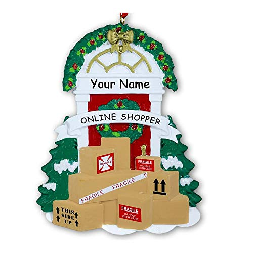 Personalized Online Shopper Hanging Christmas Display Ornament Home Front Door with Delivered Packages and Holiday Decorations with Custom Name (Shopping Home Online Decoration)