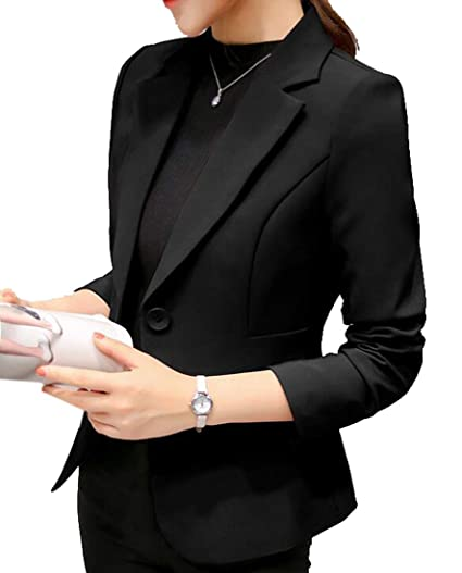 Fensajomon Women Casual Pure Color Slim One Button Long Sleeve Blazer Jacket  Coat Black L b6ae4d0dbe