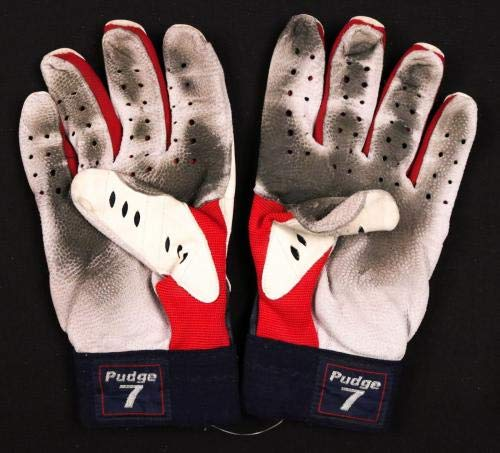 Ivan Rodriguez Rangers HOF Signed Game Used Pair Nike Batting Gloves CSI LOA MLB Game Used Gloves