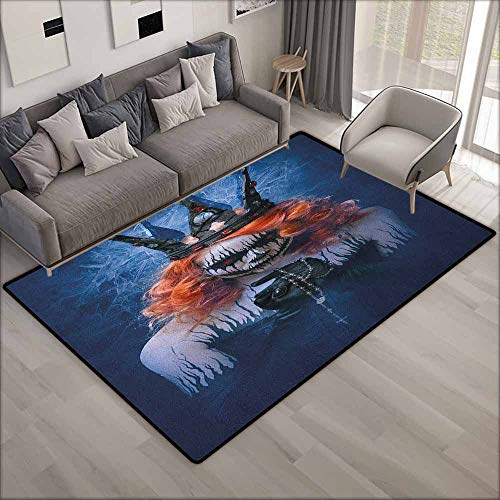 (Pet Rug,Queen Queen of Death Scary Body Art Halloween Evil Face Bizarre Make Up Zombie,Anti-Static, Water-Repellent Rugs,4'7