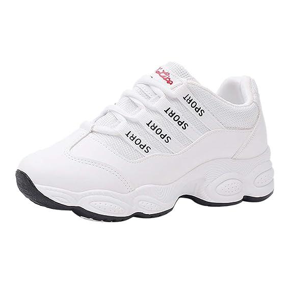 Zapatos Gym Running Verano Primavera otoño ZARLLE Zapatillas De Running Moda Mujer con Punta Redonda con Cordones Parte Inferior Gruesa TamañO Grande ...