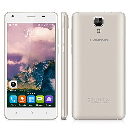 Landvo XM200 Pro 5.0 Zoll 4G Smartphone Android 6.0 Quad Core 1.3GHz Dual SIM Handy ohne Vertrag IPS HD Screen 2GB RAM+16GB ROM 5+2MP Dual Kamera Smart Wake GPS WIFI Schwarz