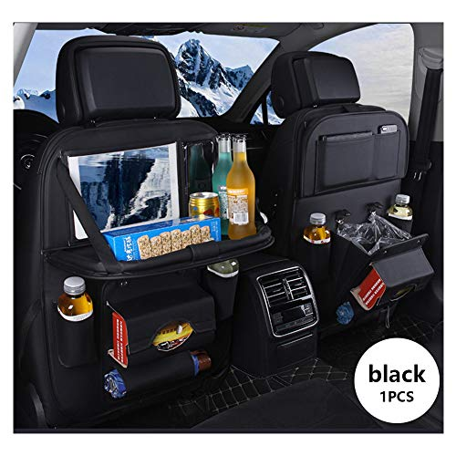 KTYX Car Seat Protector + Backseat Organizer, Table Tray, Foldable Dining Table with iPad and Tablet Holder, Travel Accessories Organizer (1 Pack)