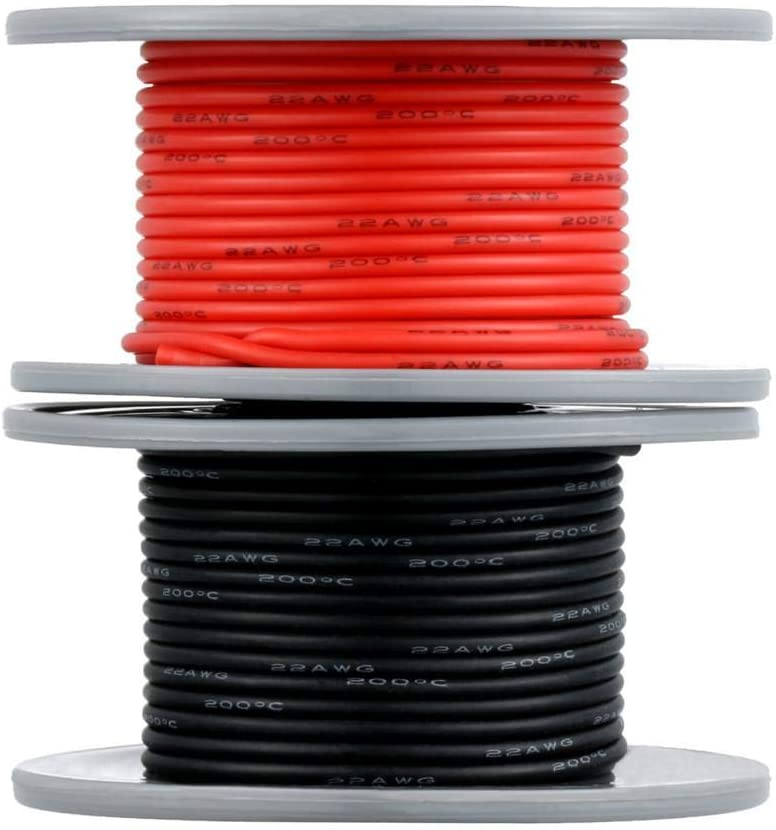 BINNEKER 22 Gauge Silicone Wire Spool 50 feet Ultra Flexible High Temp 200 deg C 600V 22 AWG Silicone Wire 60 Strands of Tinned Copper Wire 25 ft Black and 25 ft Red Stranded Wire for Model