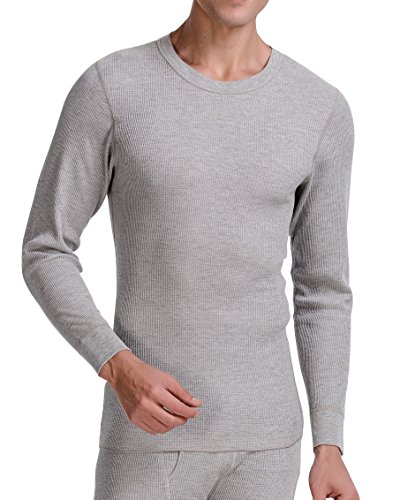 CYZ Collection CYZ Men's Thermal Long Sleeve Crew Top-Grey-L