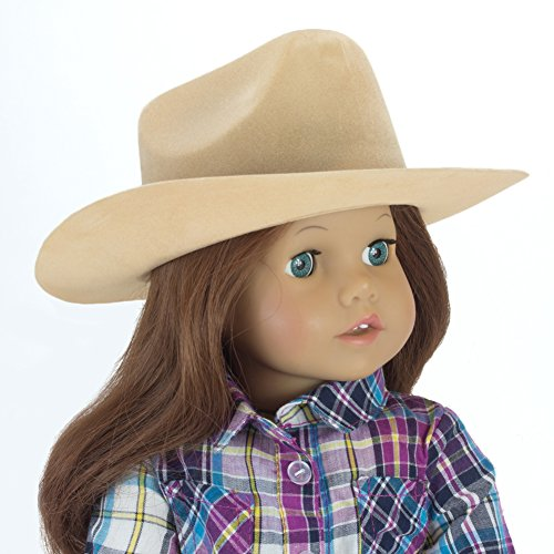 Tan Cowgirl Doll Hat for the 18 Inch Horse Riding American Girl & More! 18 Inch Tan Velvet Cowgirl Doll Hat w/ Decorative Rope on Brim