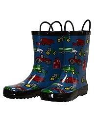 Foxfire for Kids Blue Farm Equipment Rain Boots