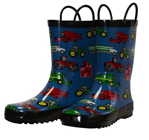 Foxfire for Kids Blue with Farm Equipment Rubber Boots size 9