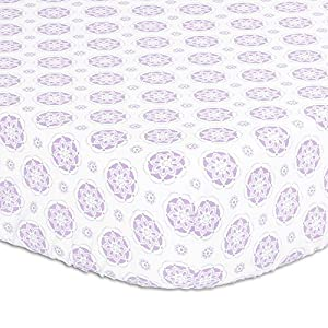 Lilac Purple Floral Medallion Print Fitted Crib Sheet – 100% Cotton Baby Girl Garden Flower Designs Nursery and Toddler Bedding