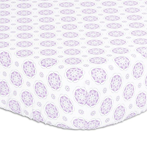 Lilac Purple Floral Medallion Print Fitted Crib Sheet - 100% Cotton Baby Girl Garden Flower Designs Nursery and Toddler ()