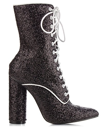 Ankle on FASHION Glitter Women's OF Vegan Stacked Heel Stretchy Booties High Chunky RF ROOM Top Pull Black Sock THwSYH0q