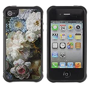 "Pulsar iFace Series Tpu silicona Carcasa Funda Case para Apple iPhone 4 / iPhone 4S , Flores Azul Blanco Día de la Madre"""