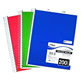 Mead 06780 Spiral Bound Notebook, Perforated, College Rule, 11 x 8, White, 200 Sheets
