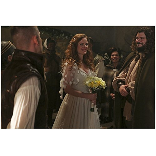 Rebecca Mader Once Upon a Time in wedding dress holding bouquet smiling with guests 8 x 10 Inch Photo