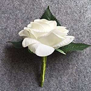 XGM GOU Artificial PU White Rose Groom Boutonniere Wedding Party Men Corsage Prom Pin Brooch Lapel Flower Decoration 3