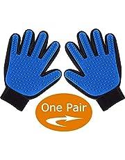ENJOY PET Grooming Glove Brushes, Deshedding Glove Brush, Dog Bathing Mitt, Cat Brush Comb, Pet Grooming Mitts, Remove Loose Hair Easily (One Pair) (Blue)