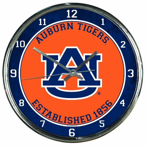 NCAA Auburn Tigers Chrome Clock, 12