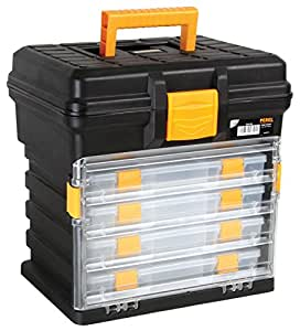 Perel OM14H caja de herramientas - cajas de herramientas (34 cm, 27,2 cm, 34,1 cm) Negro, Amarillo