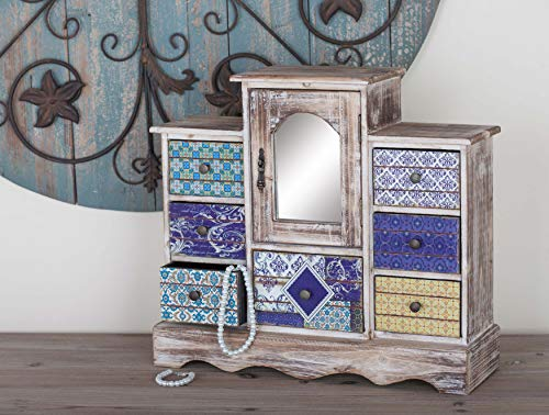 Deco 79 56700 Lattice Pattern Designed Wooden Jewelry Chest, 16'' x 18'', Lightbrown/Multi-Color by Deco 79 (Image #6)