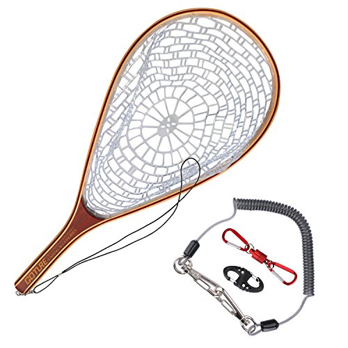 anding Trout Net Catch Release Net - Wooden Frame Soft Rubber Mesh ()