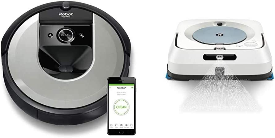 iRobot i7 Roomba - Robot Aspirador Adaptable al hogar, Ideal para Mascotas + Braava m6134: Robot fregasuelos con WiFi, pulverizador a presión y navegación, Friega y Pasa la mopa: Amazon.es: Hogar