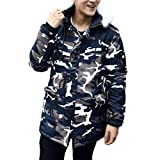 Fheaven Men Fashion Camouflage Winter Coat Thickening Cotton-Padded Winter Fur Hoodied Jacket (L, Camouflage)