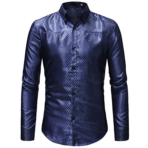 Plaid Blue T Button Men's Long Sale Sleeved Top Classic Casual Shirt Blouse Print PASATO Pullover Clearance 8zIZqS