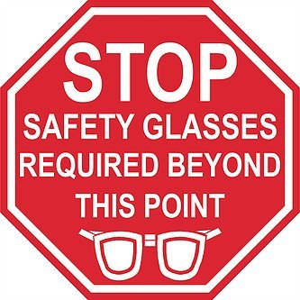 """""""Stop Safety Glasses Required Beyond This Point"""" - 18in Durable Floor Sign by Graphical Warehouse Vibrant Colors - Safety and Security Signage. Red Octagon."""