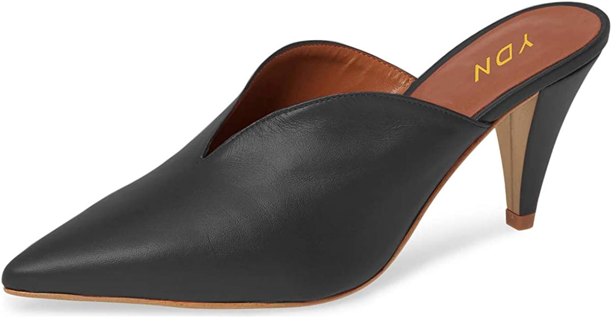 YDN Women's Slip On Cone Heel Pointed Toe Slide Mules V Cut Leather Slide Sandals Summer Dress Clog Ladies Dress Shoes