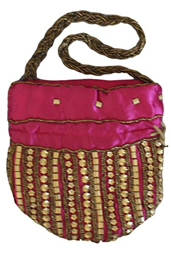 Pink rose Potli Fancy Bag Batwa Sac Hot de Potli indien PHB3006 Indian vif XqRp4Bn7