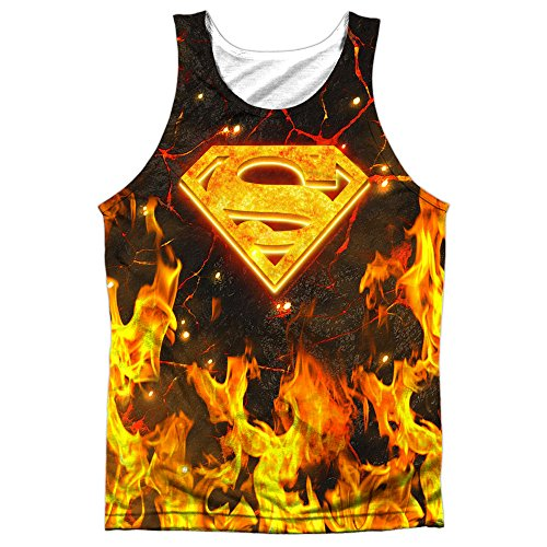 Superman+tank+tops Products : Superman Fire Logo Mens Sublimation Tank Top Shirt