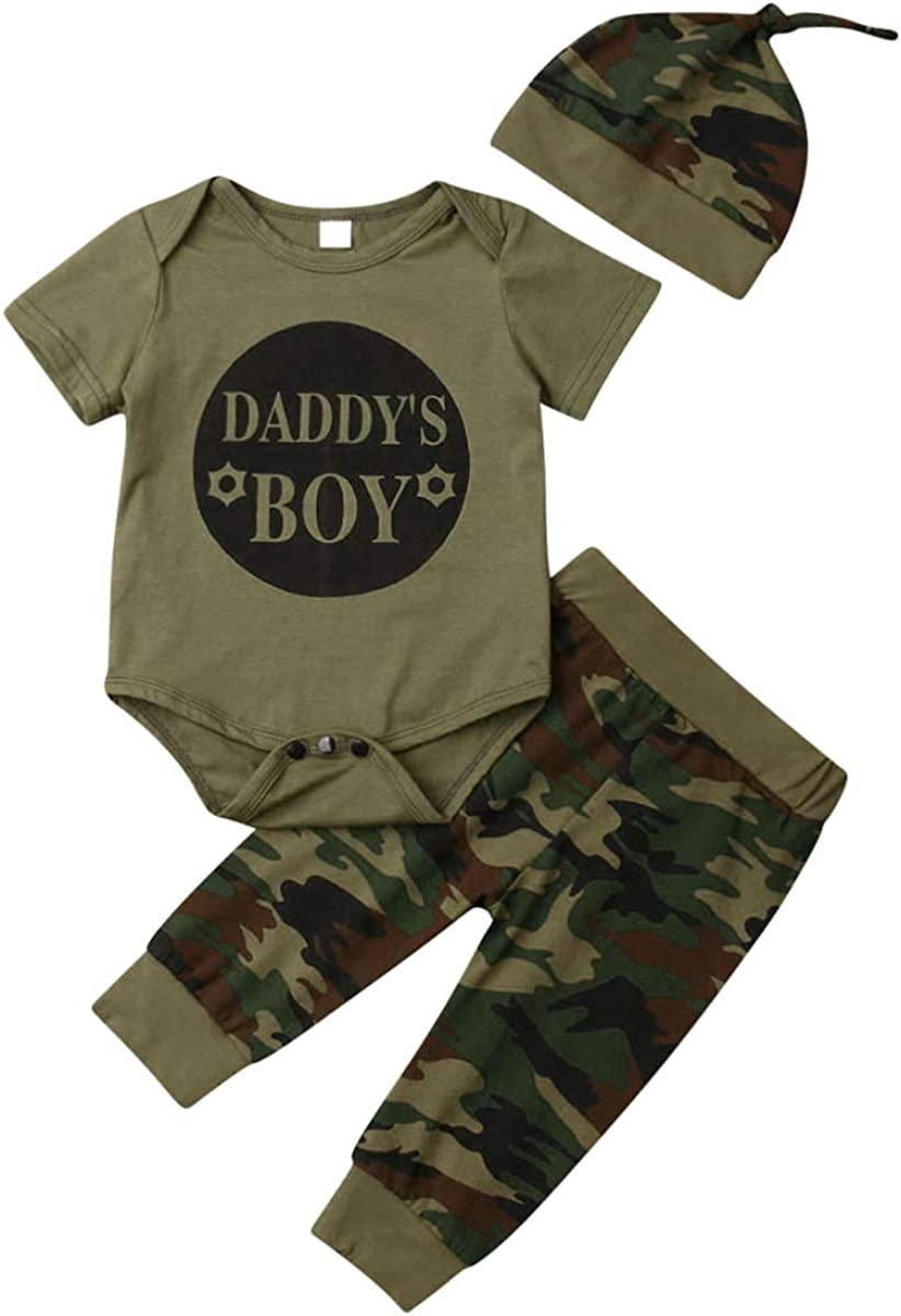 Daddy's Baby Boy Girl Outfits Camouflage Letter Print Romper Long Pants Hat Clothes Set for 0-24 Months Baby