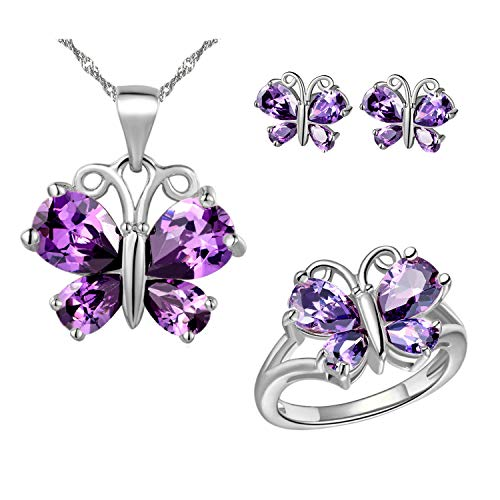 Uloveido Women Platinum Plated Purple Crystal Love Butterfly Pendant Necklace Promise Ring and Studs Earrings Jewelry Set for Kids Girls Birthday Gift T235 ()