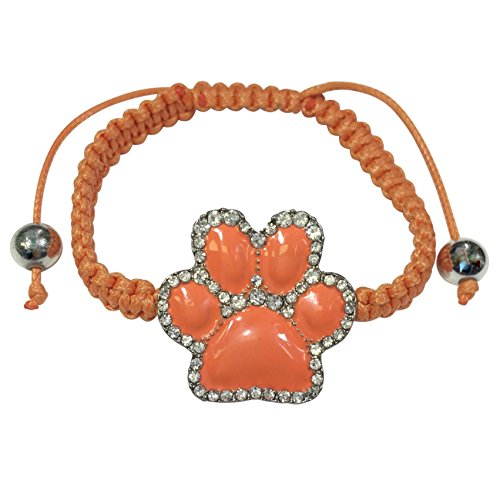 Paw Print School Spirit Mascot Silver Tone Pull Tie Thread Bracelet (Orange)