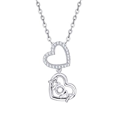 f23b236d2 KATARINA Diamond Dangling Mom Heart Necklace Pendant in Sterling Silver (1/8  cttw,