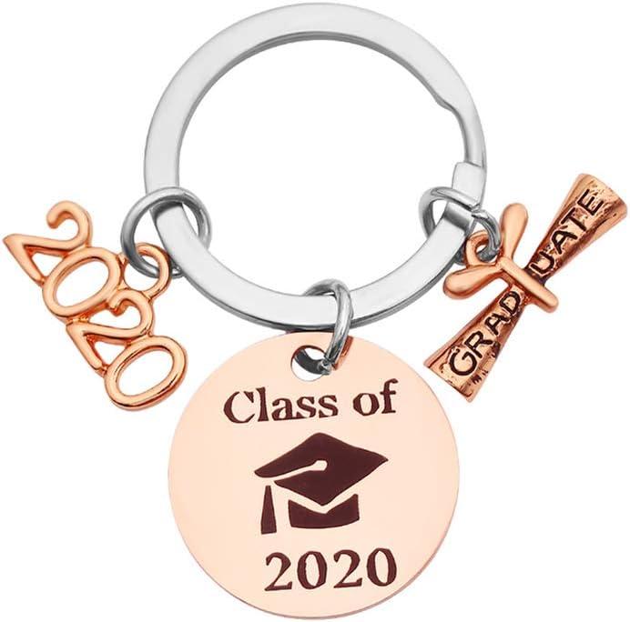 Amosfun Llavero de Graduación 2020 Llavero Grabado Llavero de Frases Regalo para Graduación