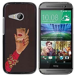 TopCaseStore / la caja del caucho duro de la cubierta de protección de la piel - Michael Mirror Woman Red Nails Hand - HTC ONE MINI 2 / M8 MINI