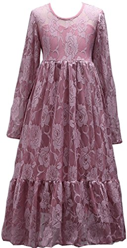 Shiny Toddler Big Girls Vintage Flower Girl Birthday Party Lace Long Dress 11-12,Pink