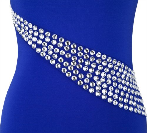 Shoulder Women's Blue Dress Angel Rhinestones Slit Out Long Hollow Single fashions 1Ywv7nq5wR