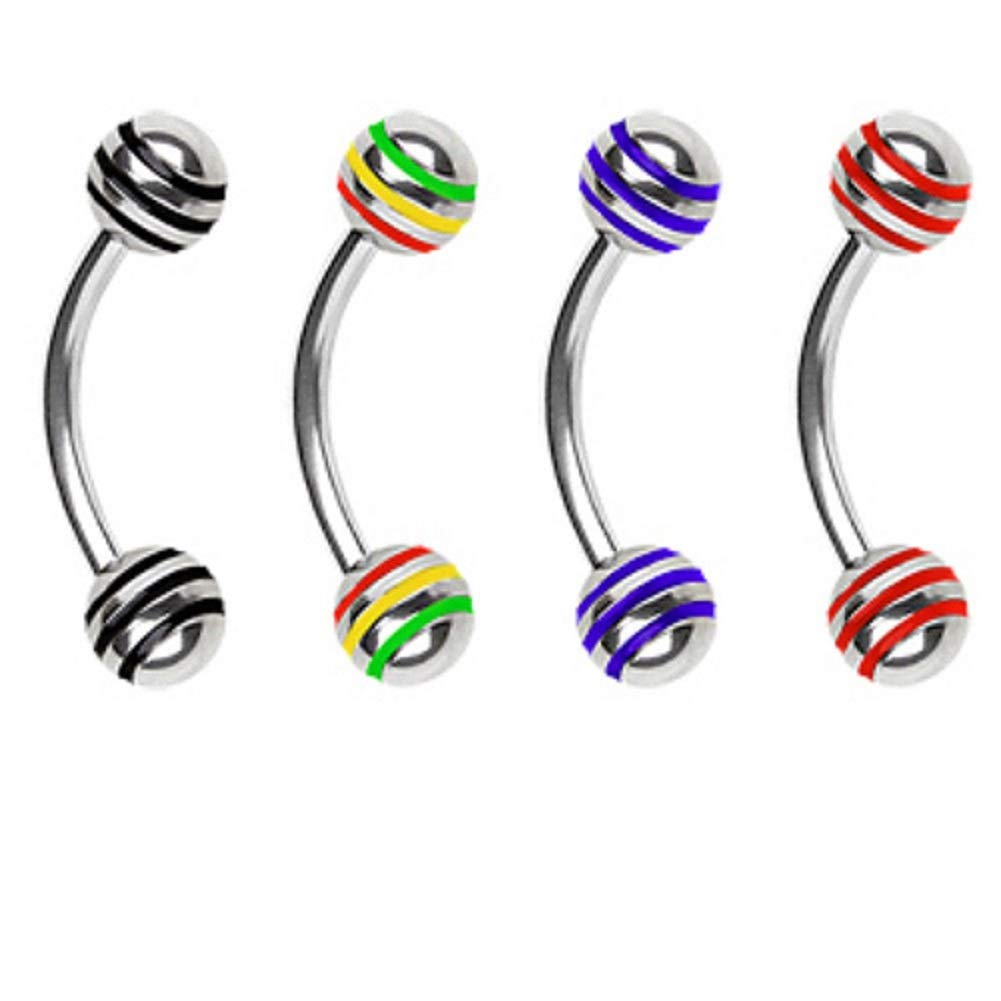 new/_c Piercing Curve Barbell Eyebrow Ring,Striped Ball Lip Rook Snug,New