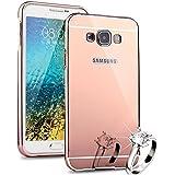 HICASER Aluminium Métal Bumper Coque pour Samsung Galaxy Core Prime G360 Case 2 en 1 Luxe Mirror Arrière Cover + Frame Etui Housse Rose