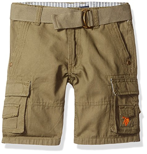 (U.S. Polo Assn. Boys' Washed Ripstop Belted Cargo Short, Olive, 4T)