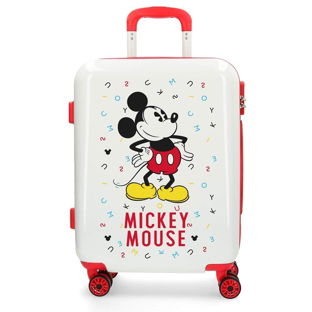 Maleta de cabina Mickey Style letras roja rígida 55cm