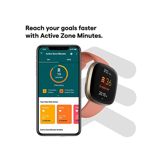Fitbit Versa 3 Health & Fitness Smartwatch with GPS, 24/7 Heart Rate, Alexa Built-in, 6+ Days Battery, Pink/Gold, One… 4