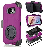 S6 Case, Galaxy S6 Case, Aitech Ultra Shock&drop-proof Amy-grade Protective Hard Defender Case and Three Layer Hard Shell Cover Holster with 360 Degree Rotating Ring Bracket Protective Case for Samsung Galaxy S6-- TPU Rubber & Silicone Case with Stand & Clip for Samsung Galaxy S6 (Purple+Black)