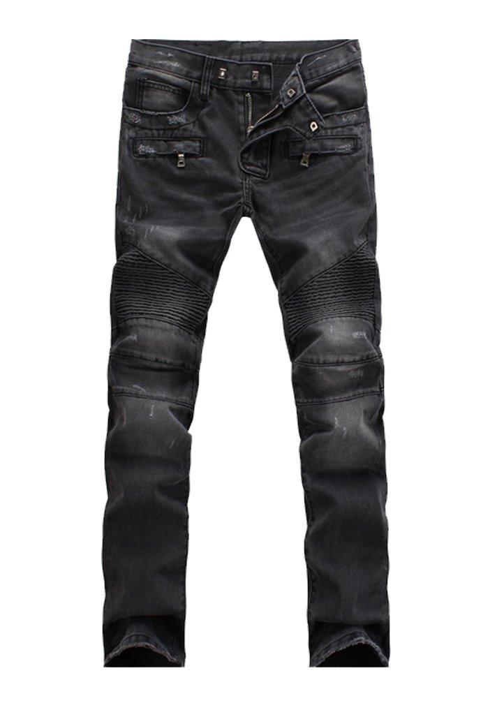 Vogstyle Men's Slim Fit Vintage Distressed Motorcycle Jeans Runway Biker Denim Jeans Style 5-Black-32 by Vogstyle