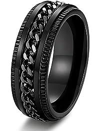 Stainless Steel 8mm Rings for Men Chain Rings Biker Grooved Edge, Size 7-14